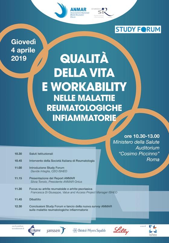 Qualita della vita e Workability nelle malattie reumatologiche infiammatorie.locandina